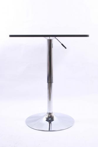 bistro tisch schwarz quadratische holzplatte h henverstellbar bartisch neu ebay. Black Bedroom Furniture Sets. Home Design Ideas