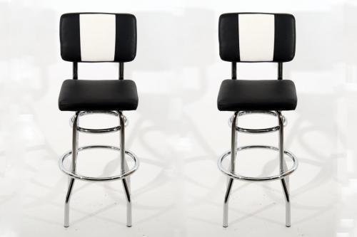 2x barhocker schwarz weiss chrome barstuhl bistrostuhl. Black Bedroom Furniture Sets. Home Design Ideas