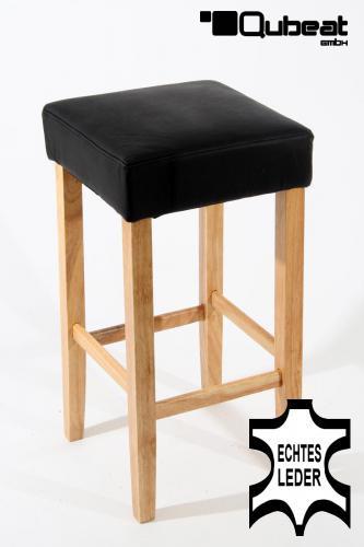 holzbarhocker in schwarz natur echt leder 2x edler holzbarhocker schwarz holzgestell barhocker. Black Bedroom Furniture Sets. Home Design Ideas