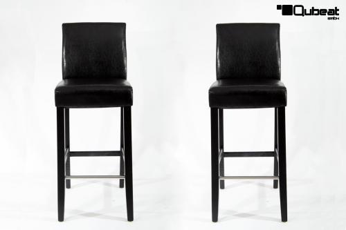 Hochwertige holzbarhocker in schwarz 2x edler for Barhocker mit lehne schwarz