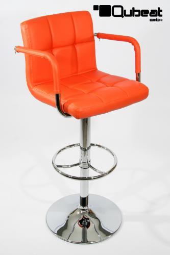 2x design barhocker h henverstellbar mit r ckenlehne und for Barhocker orange