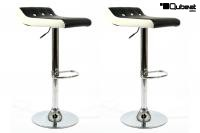 2 x Design Barstool black white, height adjustable, seat rotates 360° -