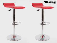 2 x Design Barstool red, height adjustable, seat rotates 360° -