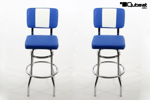 2x barhocker blau weiss gepolstert r ckenlehne chrome. Black Bedroom Furniture Sets. Home Design Ideas