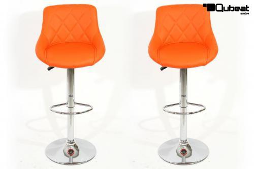 Orangener barhocker h henverstellbar 2x barhocker orange for Barhocker orange