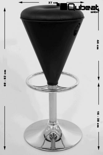 2x barhocker schwarz h henverstellbar runder sitz konisch for Barhocker 1260