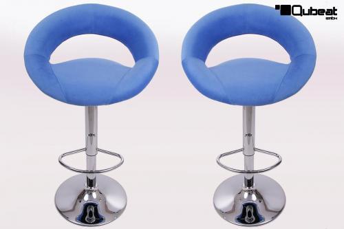 Barhocker blau plush stoffbezug bequemer barstuhl in for Barhocker stoffbezug