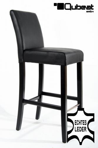 hochwertige holzbarhocker in schwarzem echtleder 2x edler. Black Bedroom Furniture Sets. Home Design Ideas