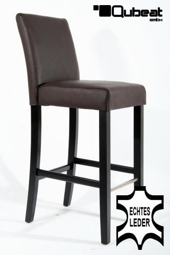 holzbarhocker in braun schwarz 2x edler holzbarhocker braun schwarzes holzgestell mit lehne. Black Bedroom Furniture Sets. Home Design Ideas