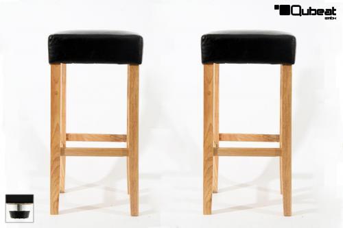 holzbarhocker in schwarz natur 2x edler holzbarhocker schwarz barhocker holz holzgestell natur. Black Bedroom Furniture Sets. Home Design Ideas