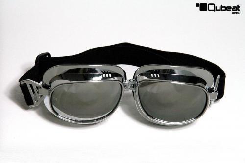 Motorradbrille silber Smoke-get/önte Gl/äser