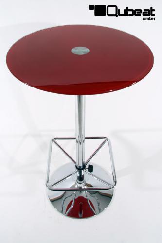 bistrotisch mit roter glasplatte bistro tisch rot. Black Bedroom Furniture Sets. Home Design Ideas