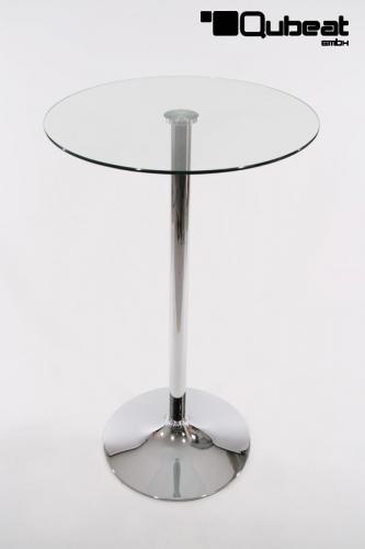 transparenter bistrotisch mit runder glasplatte bistro. Black Bedroom Furniture Sets. Home Design Ideas