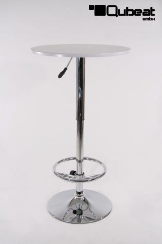 bistro tisch wei holzplatte rund beschichtet h henverstellbar. Black Bedroom Furniture Sets. Home Design Ideas