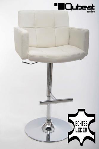 edler barhocker in echt leder farbe wei sehr bequem h henverstellbar t v gepr ft design. Black Bedroom Furniture Sets. Home Design Ideas